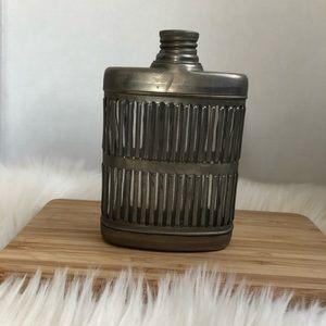 Vintage metal caged glass flask prohibition era